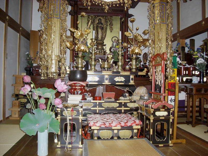 念佛寺内陣を飾る蓮の花…金盛氏より